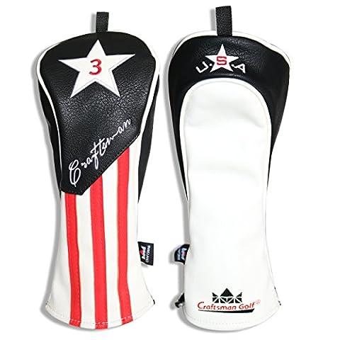 CRAFTSMAN GOLF Black White Red Stripes USA Star Pu Leather