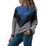 Riou Damen Mode Langarm Strickpullover Sweatshirt Herbst Winter Casual Locker Stricken Langarm Pullover Elegant Blouse (2XL, Blau)