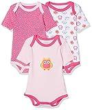 Schnizler Baby-Mädchen Body Kurzarm, 3er Pack Eule, Oeko-Tex Standard 100, Rosa (original 900), 62 (Herstellergröße: 62/68)