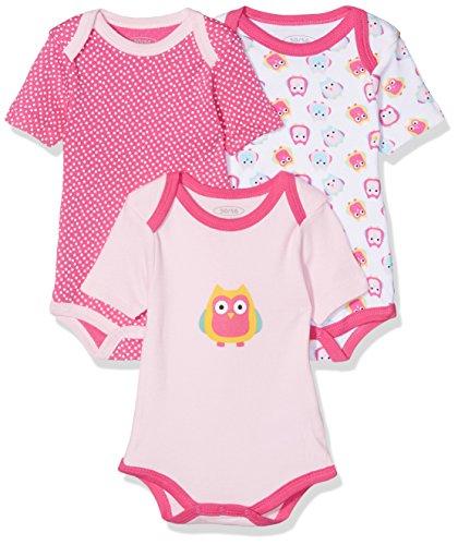 Schnizler Baby-Mädchen Body Kurzarm, 3er Pack Eule, Oeko-Tex Standard 100, Rosa (Original 900), 86 (Herstellergröße: 86/92)