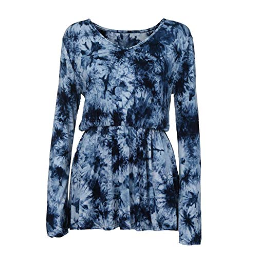 Xmiral Women Plus Size V-Neck Tie-Dye Dress Print Long Sleeve Tops Pleated High Waist Line Blouse