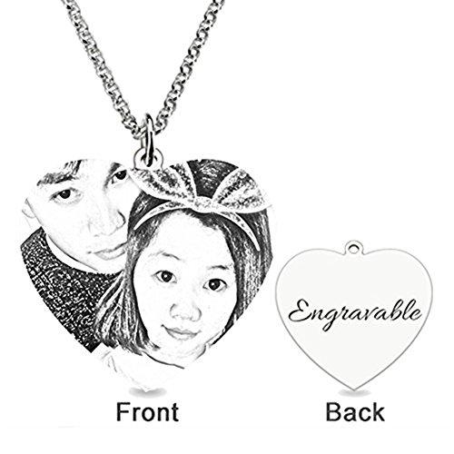 HACOOL 925 Sterling Silber personalisierte Foto graviert Necnlace Custom Made mit jedem Bild pendnat (Stil drei) (Anastasia Kleider Hochzeit)