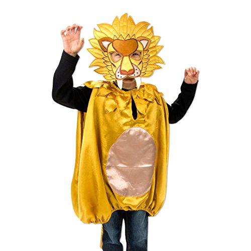 Kostüme Wappenrock (Luxus Löwen Kostüm mit Maske für Kinder 3-8 Jahre - Karneval Löwe Kostüm Kinder - Slimy)