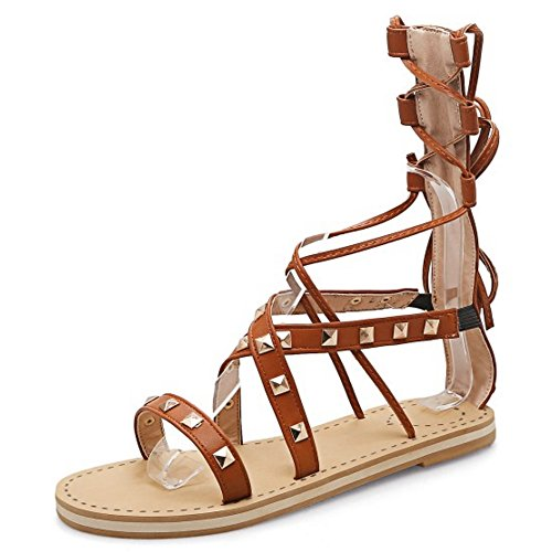 COOLCEPT Damen Mode Schnurung Sandalen Open Toe Cut Out Flach Schuhe Braun