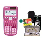Casio FX 85 GT Plus Pink + Schutztasche + Geometrie-Set + Lern-CD