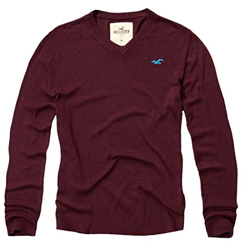 hollister-herren-v-neck-icon-sweater-pullover-grosse-medium-weinrot-624370608