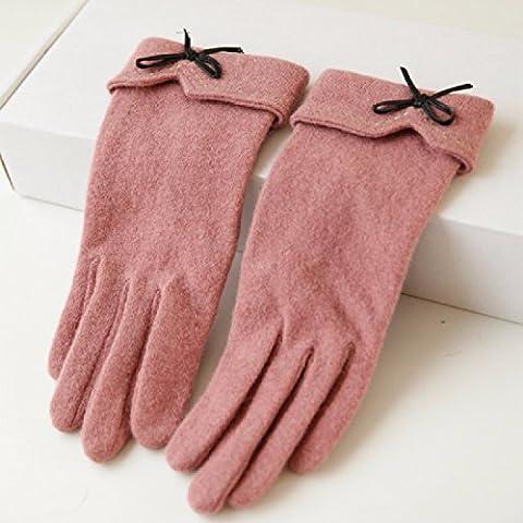 KHSKX Autunno/Inverno guanti in pile nuove flangiatura bow maglia cashmere caldo ladies touch screen guanti,Rosa