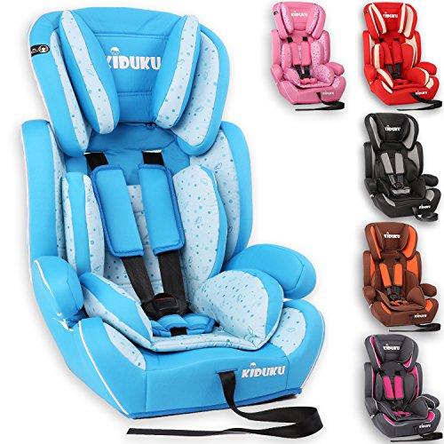 KIDUKU Seggiolino auto, cresce con il bambino, sedile, universale, approvato con la normativa ECE R44 / 04, 9-36 kg (1-12 anni), gruppo 1+2+3 (Azzurro/Bianco)