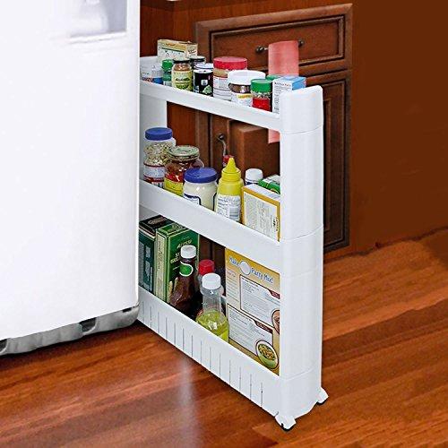 Organizador con niveles y ruedas delgado, que se desliza hacia fuera, para cocina, baño, plástico...