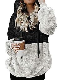 9bc007dc93 Kenoce Damen Kapuzenpullover Herbst Winter Hoodie Flauschige Sweatshirt  Oberteil Mode Langarmshirt Teddy-Fleece Mantel Tops Mit…