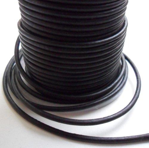 AURORIS - 5m Lederband rund - Ø 2mm - matt-schwarz