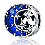 Sterling Silver Starry Sky Moon and Star Bead Charm I Love You to the Moon and Back Charm for Bracelets (Starry Sky Charm)