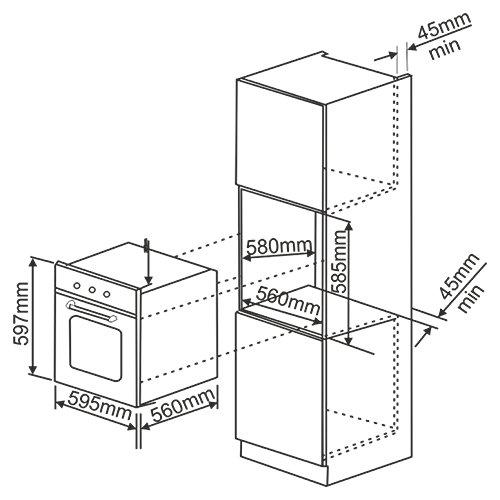 Kaff Built In Oven Kov 73 Mrft 73 Litre Oven Black