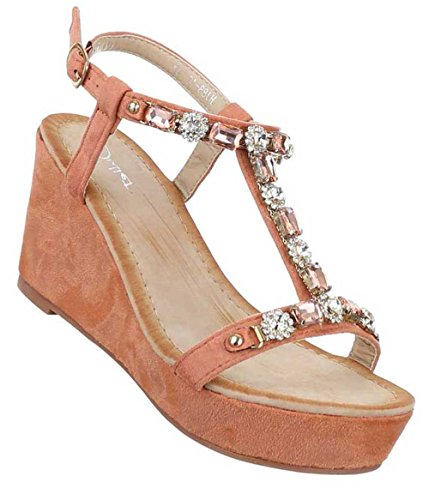 Damen Sandaletten Schuhe Keil Wedges Pumps Schwarz Altrosa