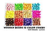 #2: Colorful Wooden Beads 12 color 500 beads kit for jewellery making/ crafts, size 12mm