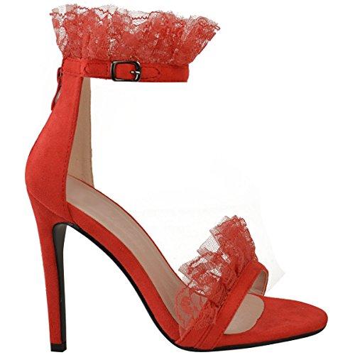 FASHION Thirsty Donna fronzoli a balze pizzo festa ballo stiletto Scarpe sandali tacco alto misura Rosso Pelle Scamosciata
