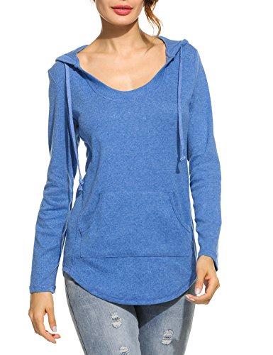 Meaneor Damen Frühling Sweatshirt Mit Kapuze Pullover Mit Tasche Pulli Tunika Langarmshirt Hoodie Kapuzenshirt Loose Fit Blau