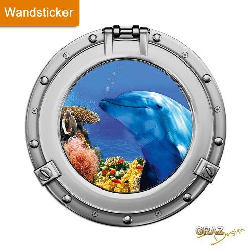 GRAZDesign Wandsticker Wandtattoo Wandaufkleber Badezimmer Bullauge Delfin Korallen WC