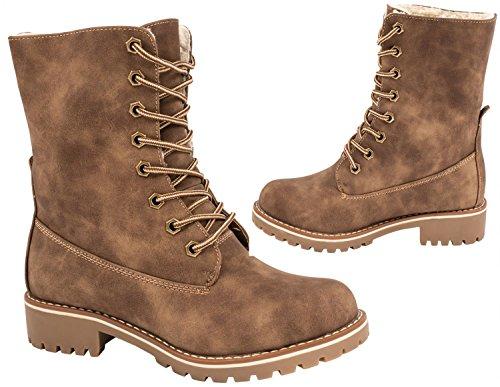 Elara Damen Biker Boots | Gemütliche Worker Stiefeletten | Warm Gefüttert Khaki luk7IRcN2