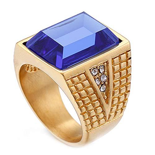 Blau Leder Osmanischen (LANCHENEL Gold Herren Schmuck Rubin Weinlese Herrschsüchtige Diamant Ringe,Blau,Größe 62 (19.7))