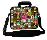 Luxburg® Design Laptoptasche Notebooktasche Sleeve mit Schultergurt und Fach für 17,3 Zoll, Motiv: Patchwork