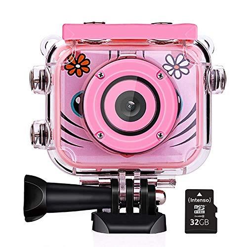 POSIVEEK Kids Camera, Kinder Digitalkamera 1080P HD Wiederaufladbarer Action-Camcorder Unterwasservideokamera Wasserdichte Kamera Birthday Festival Toy Tolles Geschenk for Kinder Jungen Mädchen mit 2.