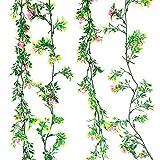 Rain Forest Artificial Plant Vines (Combo Pack -Essence Pink Vine 8Ft X 1 + Coniferous White Pine Vine 5Ft X 1) For Living Room