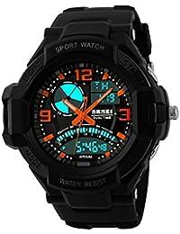 9048a1a29b5c GL para hombre reloj digital Sport Watch goma correa doble movimiento noche  vista LCD Light