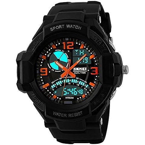 GL Uomo orologio digitale Sport Watch gomma cinturino doppio movimento notte vista LCD Light, orange