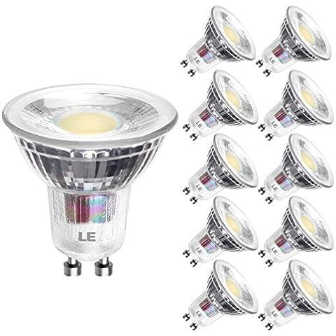 LE Bombillas LED, MR16, GU10, 5W = halógenas 60W, 420lm, Blanca Cálida, 10 unidades