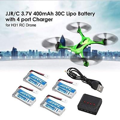 LasVogos Original JJR/C 3.7V 400mAh 30C Lipo Battery Charger for H31 T6 H98 RC Drone