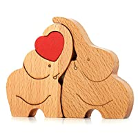 IK Style Symbol of Love Longevity And Unity Loving Wooden Love Elephant Couple With Red Hearth - Great Sculpture With Message Of Love