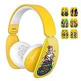Mindkoo MK-BH03, Auriculares Bluetooth Plegables Estéreo Para Niños (Volumen Limitado a 85db, 6 Pegatinas De Bricolaje De Dibujos Animados Para Divertirse, 15H De Reproducción)  amarillo