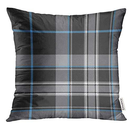Throw Pillow Cover Blue Plaid Pride of Scotland Platinum Tartan No Gradients Gray Black Decorative Pillow Case Home Decor Square 18x18 Inches Pillowcase