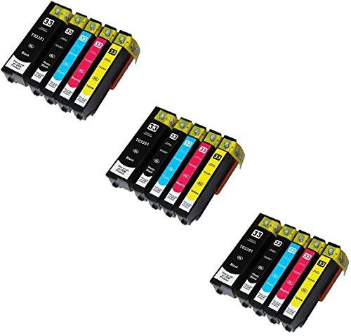 Printing Pleasure 15 Compatibili 33XL Cartucce d'inchiostro per Epson Expression Premium XP-530 XP-540 XP-630 XP-635 XP-640 XP-645 XP-830 XP-900 - Nero/Nero Foto/Ciano/Magenta/Giallo, Alta Capacità