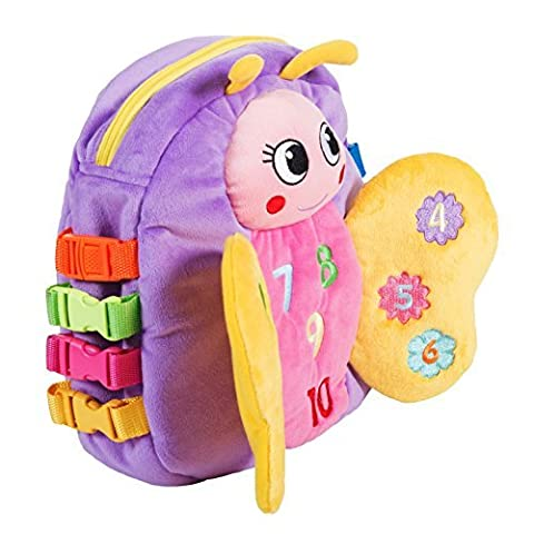 BUCKLE TOY Blossom Butterfly Backpack - Toddler Early Learning Basic Life Skills Children's Plush Travel Activity by Buckle Toys