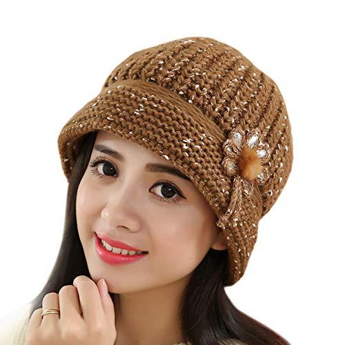 mützen Liusdh Mode Damen Flower Knit Crochet Beanie Mütze Winter Warm Cap Beret(Coffee,freie Größe) -