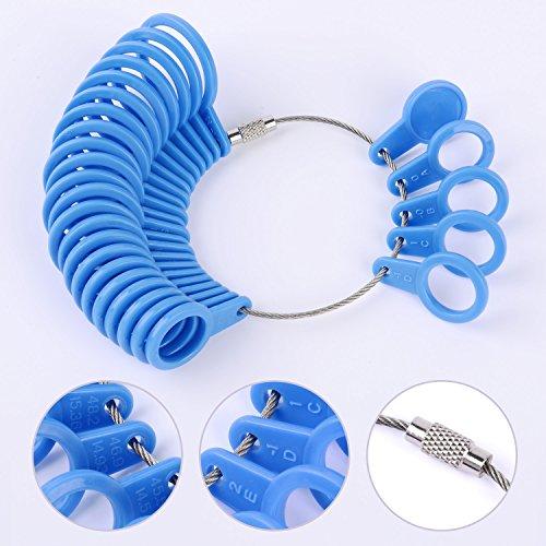 Shappy 27 Stück Kunststoff Ringgröße Messgeräte A-Z Finger Sizer Messung Ring Schmuck Werkzeugsatz (Blau) - 5