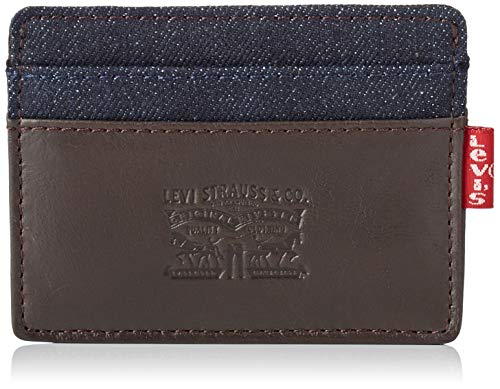 Levi\'s Herren Leather & Denim Card Case Geldbörse, Braun (Dark Brown), 1x10,8x9,6 Centimeters