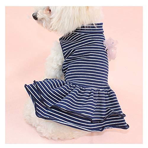 Pet 548925 Gestreiftes Hemd Prinzessin Sommerkleid Für Kleine Hunde Katzen Welpen Sommerkleid Stufenrock Party Kostüm Yorkie Chihuahua Shih Tzu Kleidung,Blue,M