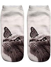 primegifts Calcetines de impresión de gato Casual Harajuku calcetines de arte de corte bajo calcetín tobillo mujeres niña niños regalo…