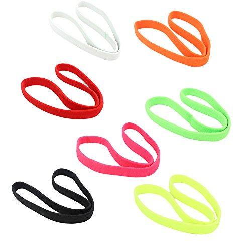Kanggest - 7 fasce elastiche anti sudore, multicolore, sportive, per la testa, per uomini e donne, per jogging, equitazione, yoga, sport con la palla, colore casuale