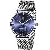 WWOOR Herren Luxus Edelstahl Armbanduhr Mesh Band Uhr mit Datum Blau