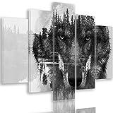 Feeby. Wolf Mehrteilige Leinwandbilder 5 Panel Typ A, Größe: 150x100 cm, Tiere Natur SCHWARZ UND WEIß