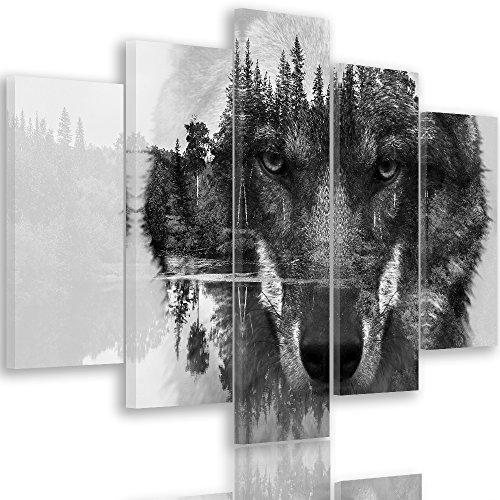 Feeby WOLF Mehrteilige Leinwandbilder 5 Panel Typ A, Größe: 150x100 cm, TIERE NATUR SCHWARZ UND WEIß