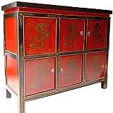 Etnicart - Credenza tibetana con sportelli Base rosso-110x90x41-Mobili Etnici per Camera Letto Salone Ingresso Cucina Arredamento Etnico