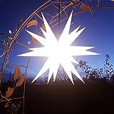Mit LED 20-Zack Außenstern weiß, Outdoorstern inkl. Außenkabel/Außensterne, Leuchtmittel StaRt-NDL-DUH-E14-3,5W 104 SMD Dioden - kein störanfälliger Trafo nötig!