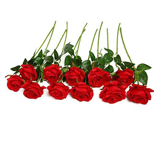 Paquete de 10rosas artificiales de seda en color rojo
