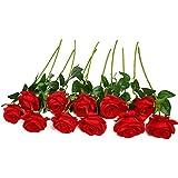 justoyou único Full Bloom rosa flores de seda Real Touch Artificial ramo de flores para hogar oficina boda arreglos