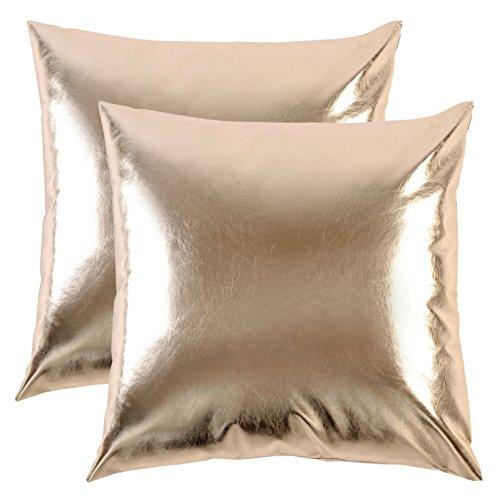 SurCozy Luxus Moderne Metallic Soft PU Kissen Bezug, Kunstleder glänzend Silber/Golden Dekorativer Überwurf-Kissenbezug für Sofa/Bett/Party Modern One Piece 18